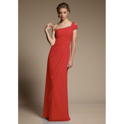 Simple A-line One Shoulder Ruching Floor-length Chiffon Bridesmaid Dresses - Dressesular.com
