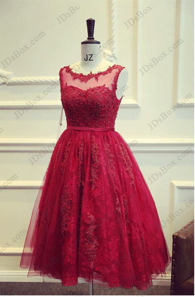 Pd16022 beautiful red tea length lace sheer back prom for Red tea length wedding dress