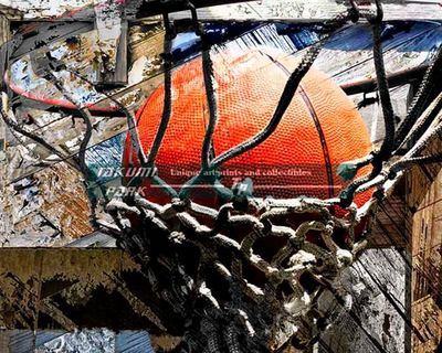 A modern basketball art print. A unique basketball artwork. Great for anyone looking for basketball wall art. #basketball #urbanart #basketballart #sportsart #streetart #photo