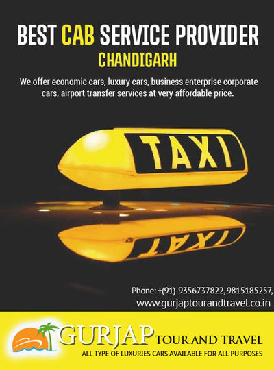 Gurjap Tour and Travel is a leading car rental service provider in Chandigarh providing cheap and best cab service in Chandigarh. We provides one way taxi booking and affordable taxi services in Chandigarh. For Car rental in Chandigarh, call us at: 981518...