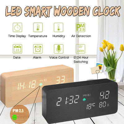 Wooden LED PM2.5 Air Detector Digital Alarm Clock Calendar Temperature Humidity Air Quality Tester