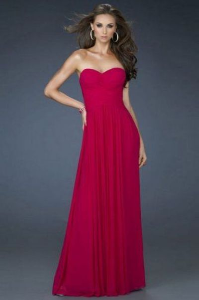 Red Strapless Pleated Chiffon Dress for Homecoming