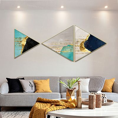 Framed wall art Set of 3 wall art Gold painting navy blue abstract paintings on canvas original Creative Triangle Triangular Hang Paintings $429.00