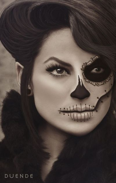 sugar skull makeup, halloween makeup and skull makeup.