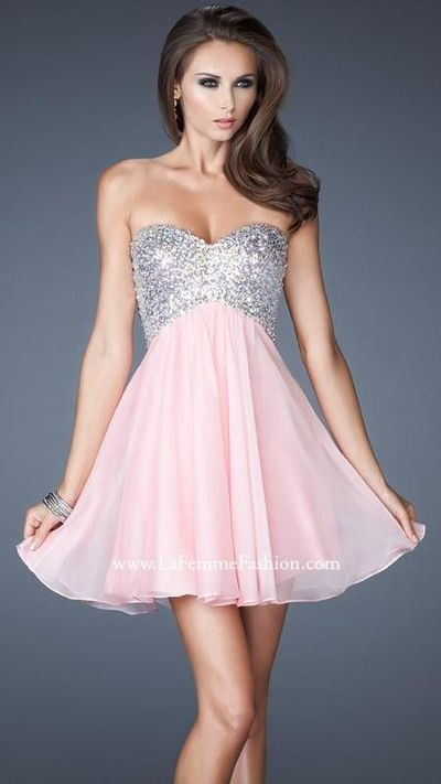 Cotton Candy Pink Strapless Sweetheart Gown by La Femme 17902Outlet