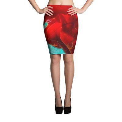 Mint Green and Red Ink Drop Pencil Skirt $40.00