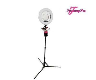 LED Ring Light with Brush Holders, Cell Phone Holders & Mirror: The Tuscany Pro makeup ring light features 432 dimmable LED lights, a power indicator, and 120-degree rotation. It also comes with a cell phone holder, brush holder, and mirror. Visit a...