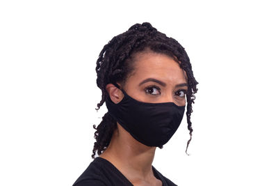 Thin Black Fabric Sports Active Face Mask. Machine Washable, Nose Wire, Neck Strap, Ear Loops, Filter Pocket. Sizes XS, S, M, L, XL, XXL $13.99