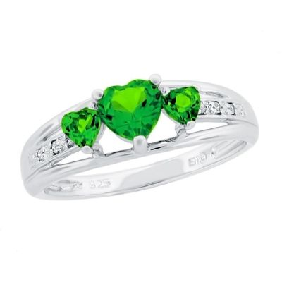 Created Emerald Heart Sterling Silver Diamond Accent Birthstone Ring $60.00