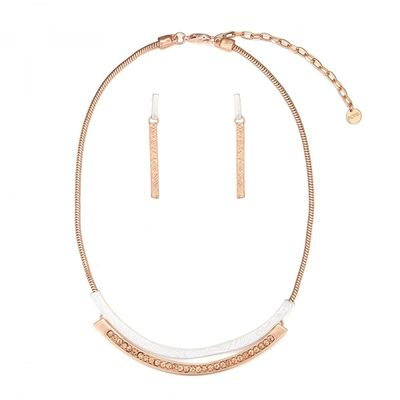 Curved Double Bar Necklace Set - Rose Gold