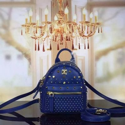 MCM X-Mini Stark Special Crystal Studded Backpack In Blue