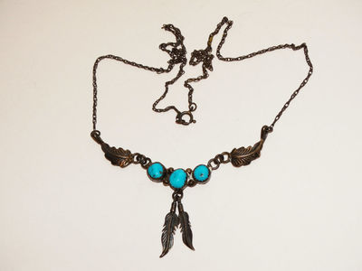 """Navajo Sterling Silver Turquoise Delicate 18"""" Necklace. $78.75"""