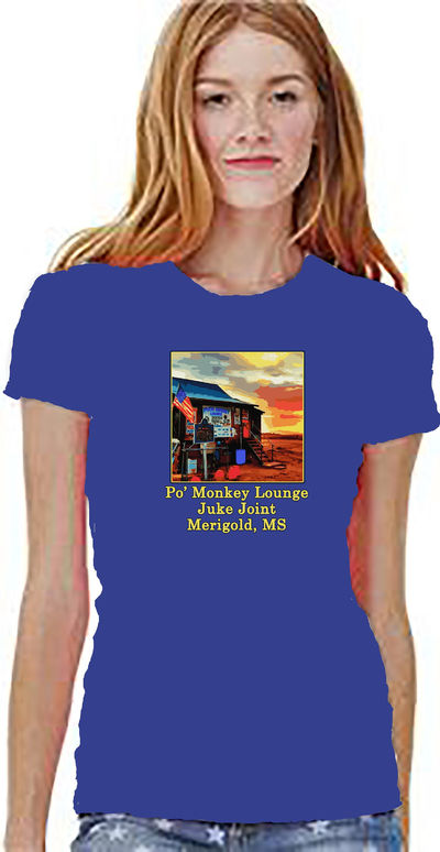 Po' Monkey Lounge and Juke Joint in Merigold on the Mississippi Blues Trail. A Unisex, Jersey Shirt with Short Sleeves. $24.00