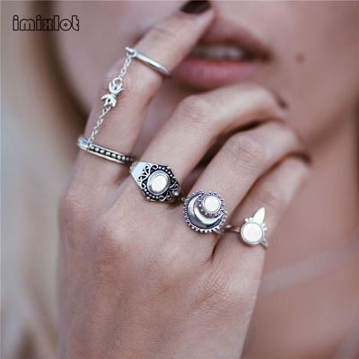 Bohemian Sale Rings New Fashion Boho National Style Jewelry Retro Bohemian Siamese Chain Mittens 4pcs / Set Ring Sun For Women $25.00