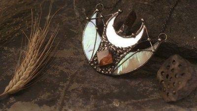 Pendant double moon with special iridiscent glass, Crescent Moon, mirror pendant, mirror necklace, lunar necklace, Moon Jewelry $43.00