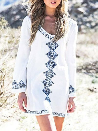 Cotton Long Sleeve ONeck Vintage Embroidery Loose Mini Dress $30.45