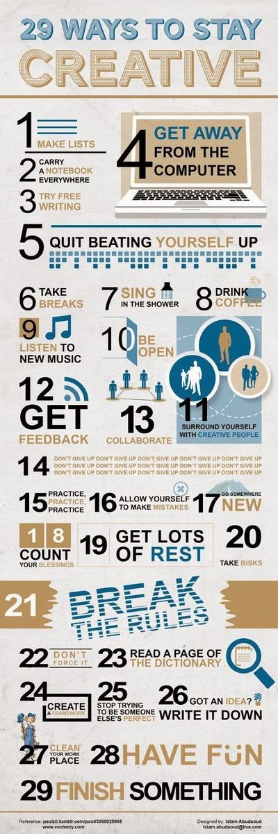 """I bet you can try one per day. Well, N.7 at least everyday! """"29 Ways to Stay #Creative"""" #inspiring #infographic"""