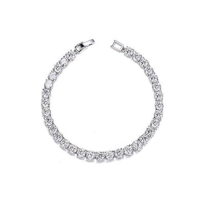 Men's 1 Row Square 4mm 8 Inch Silver Plated Clear Iced Out Pharaoh Hip Hop Bling Chain Bracelet £2.49