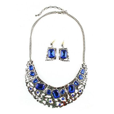 Netting Collar Necklace Set - Blue