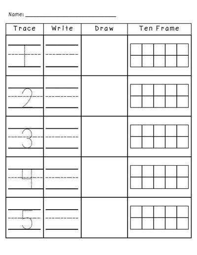 Number Practice 1-10: Trace, Write, Draw, Fill in Ten Frame ...