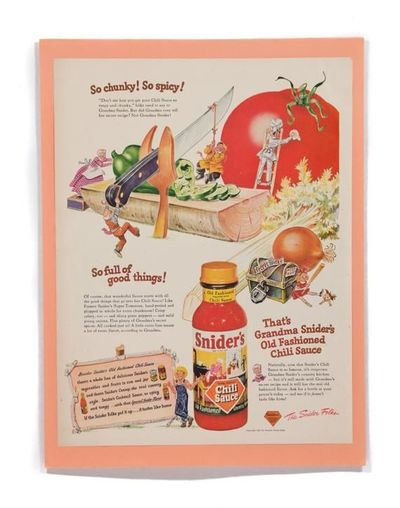 1947 Snider's Old Fashioned Chili Sauce Print Ad Magazine Advertisement Wall Art $11.00