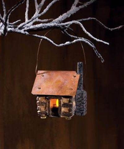 Lighted log cabin ornament from country craft house for Country craft house