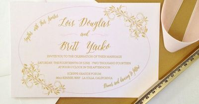Blush and Gold Laural Custom Wedding Invitation Suite