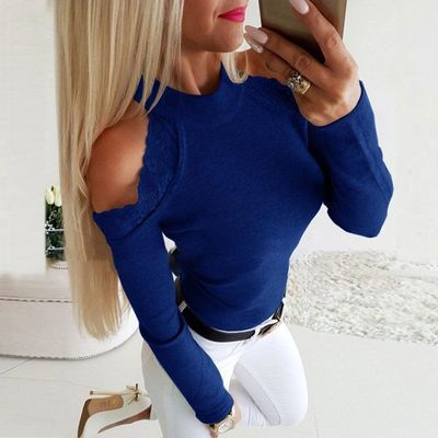 Lace Patchwork Tee Shirt Women Blouse Casual Fashion O Neck Tee Shirt Crop Strapless Tops Shirts Femme Camisas Mujer Plus Size $27.48