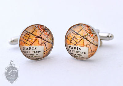 Paris France Antique Map Cufflinks - Perfect gift for a romatic man. $20.00