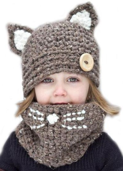 Knitting Pattern For Kitty Hat : crochet kitty cowl + hat / knits and kits - Juxtapost