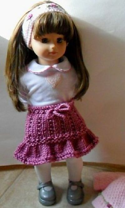Free Knitting Patterns For 18 Dolls : Free ruffle skirt knitting pattern for 18