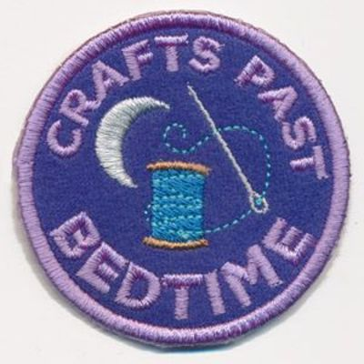 You've earned the distinction of crafting past your bedtime, now show it off with a distinctively sassy merit badge! This design stitches up as a freestanding in-the-hoop patch, perfect for placing on denim jackets, craft totes, and more.