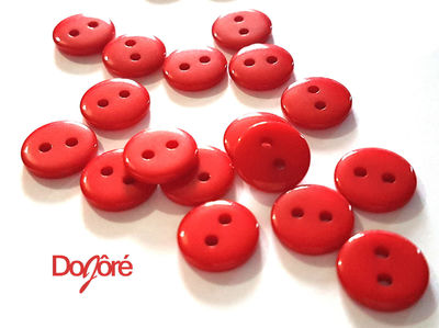 Pack of 100 Mini Round Flat Round Red Resin Buttons. 9mm Plain Plastic Fasteners. Love & Valentine's Day £4.99