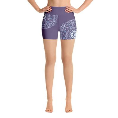 Blue Mandala in Purple Yoga Shorts $37.00