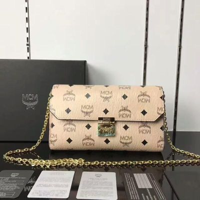 MCM Millie Visetos Flap Crossbody Bag In Beige