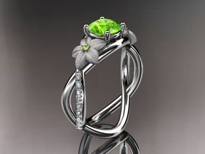 14kt white gold diamond leaf and vine birthstone ring ADLR90 Peridot - August's birthstone. nature inspired jewelry