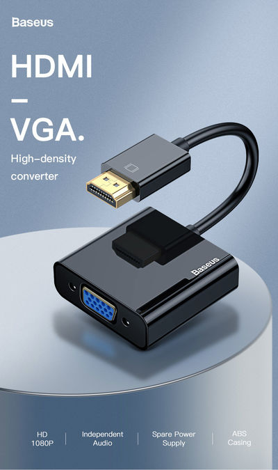 Baseus HDA22 HDMI to VGA Cable HDMI VGA Adapter 1080P Digital HDMI Male to VGA Female Converter Splitter For Laptop PS4 Chromebook TV