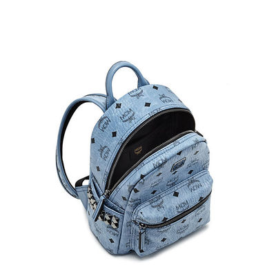 MCM Mini Stark Side Odeon Studded Backpack In Washed Blue