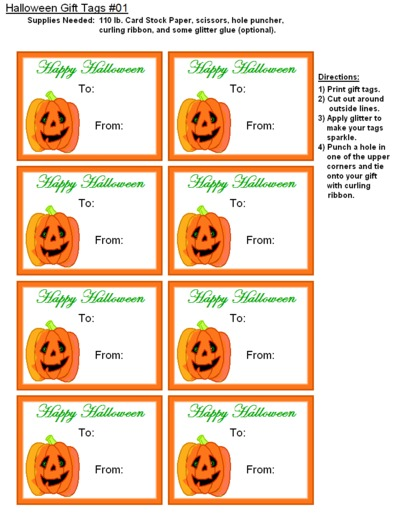 "Our Free Printable Halloween Gift Tags are perfect for that special ""BOO! Day"" present."