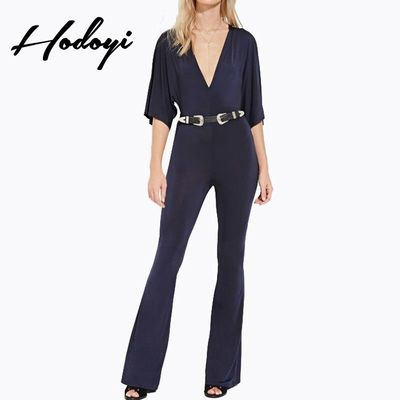 Vogue Sexy Slimming Low Cut 1/2 Sleeves High Waisted One Color Fall Jumpsuit - Bonny YZOZO Boutique Store