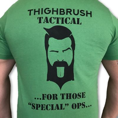 """THIGHBRUSH® TACTICAL - ARMED FORCES COLLECTION - """"For Those """"Special"""" Ops"""" - Men's T-Shirt - Green and Black"""