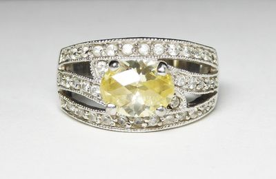 Sterling Silver Ring with Oval Citrine Yellow Colored Crystal Glass Rhinestone - Clear Rhinestones - November Birthstone - Vintage 1990's $49.00