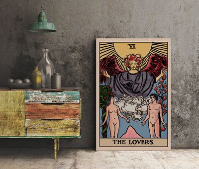 The Lovers - Tarot Card Print - The Lovers Card Poster by Printagrams (No Frame) $20.00