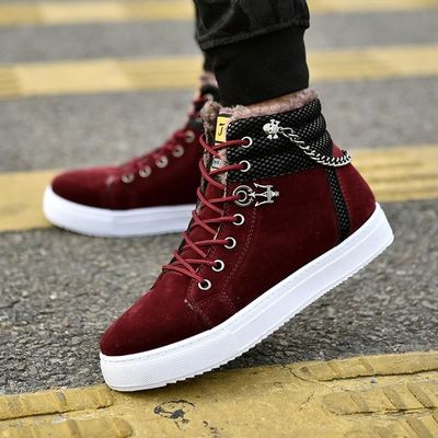 Excellent Quality Warm Winter Men shoes High Top Canvas Casual Shoes Men Boots Autumn Leather Sneakers Metal Chain Male Flats $38.59