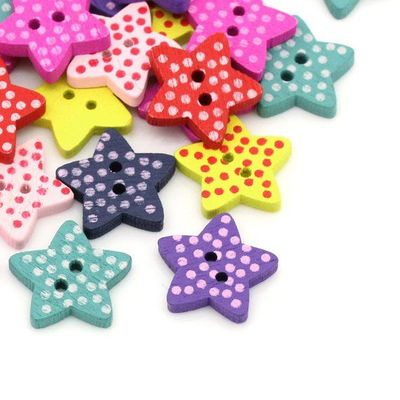 Pack of 50 Assorted Wooden Polka Dot Star Buttons. 15mm x 15mm Pentagram Shape. 2.6mm Thick. Perfect for Upholstery, Sewing and Needle Craft £3.29