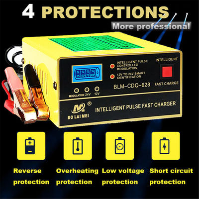 12V/24V Lead Acid & Lithium Battery Charger for Auto Car Pulse Repair Fast Charge