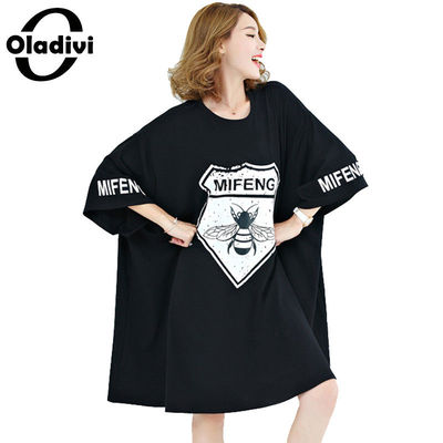 Oladivi Plus Extra Large Size Women Clothing Casual T-Shirt Fashion Lady Tops Tees Pattern Letter Printing Summer Dress Vestidos
