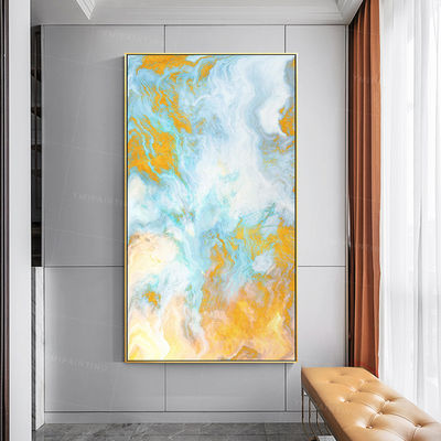 Gold art ocean Abstract paintings on Canvas Original art extra large acrylic yellow seascape painting wall art framed painting sea blue $139.00