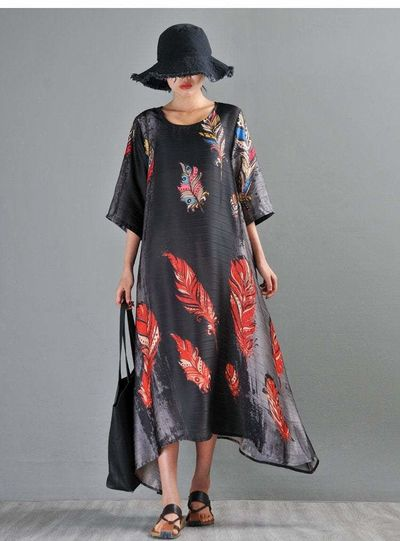 BLACK SILK DRESS, CHINESE PRINT DRESS, WOMEN'S LOOSE DRESS, OVERSIZE DRESS, SUMMER DRESS, PLUS SIZE CLOTHING, DRESSES FOR WOMEN