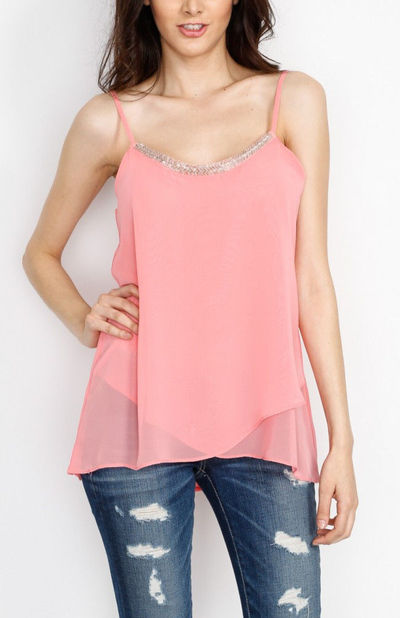 Pink Embellished Spaghetti Strap Top with Lining